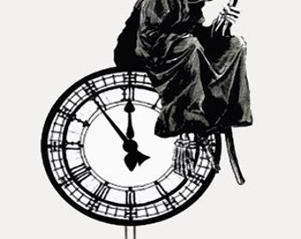 Banksy Print  - Reaper Clock  - Multiple Paper Sizes