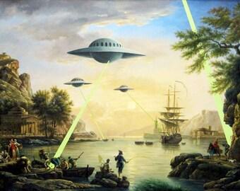 Banksy Poster Print  - Alien Invasion - Multiple Paper Sizes