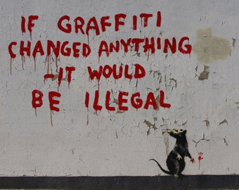 Banksy Canvas (READY TO HANG) - If Graffiti Changed Anything - Multiple Canvas Sizes