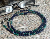"Teal green chrysocolla blue lapis lazuli eyeglass  holder 29"" long lanyard semiprecious stone jewelry eyeglass chain  in a gift bag 1375"