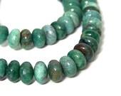 African Jade Beads, 8mm rondelle natural green gemstone, full & half strands  (571S)