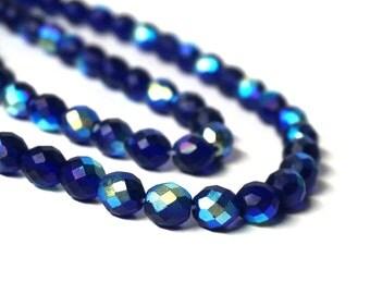10mm dark blue matte Czech glass beads, faceted Aurora Borealis, full & half strands available   (1061G)