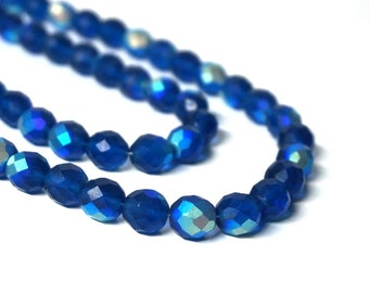 10mm Czech glass beads, faceted round, Matte Blue Aurora Borealis, full & half strands available   (1054G)