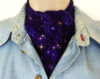 New Ascot Tie Cravat.  100% cotton. Purple swirls with scattered lights