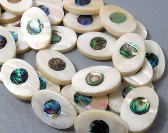 Makabibi Shell with Abalone Shell Inlay, Oval, Natural Shell, Artisan Handmade, Unique Focal Bead, 22x34mm, Large, 2pcs - ID 1579-SET2
