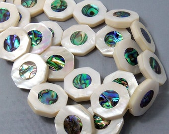 Makabibi Shell with Abalone Shell Inlay, Octagon, Natural Shell, Artisan Handmade, Unique Focal Bead, Smooth, 25mm, Large, 2pcs - ID 1578