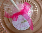 Wedding Favor Custom Paper Tags - For Cake Pops - Lollipops - Cookies - Desserts - Party Favors - 1.5 inch Personalized Circle Tags (50)