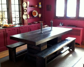 5 foot salvaged wood dining room table with benches by for 7 foot dining room table