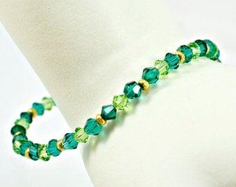 Green - Gold - Swarovski Crystal - Bi cone Beaded Bracelet