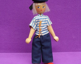 Vintage 1950s or 1960s Polish Posable Wooden Peg Sailor Doll with Original Clothing and Sticker!