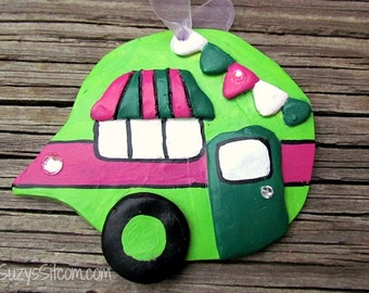 ornament, camper, polymer clay, decoration, lime green, hot pink, airstream
