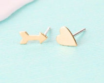 Heart and Arrow Earrings - Gold Stud Earrings - Heart Jewelry