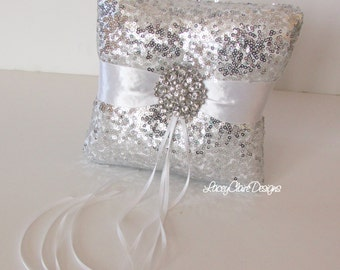 Sequin Ring Bearer Pillow, Silver Sequin Wedding Ring Pillow  - Custom Made