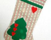 Vintage Handmade  Red White Green Fabric  Christmas Stocking Christmas Tree Design