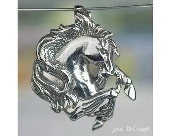Sterling Silver Horse Head Pendant Large Rearing Horses Solid .925