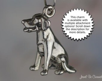 Lab Dog Charm Sterling Silver Sitting Labrador Retriever 3D Solid .925