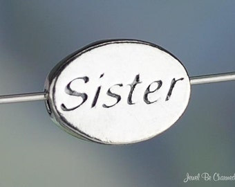 Sister Bead Sterling Silver Oval Word Family or Sorority Sisters .925