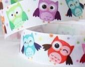 CLEARANCE SALE*FREE Shipping~ 3 yards x  Owl Nocturnal Bird Grosgrain Ribbon ,Hair Bow Ribbon, Sewing Ribbon, Scrapbook Ribbon