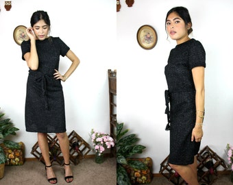 Vintage 60s Classic Black & Silver Shimmer Cocktail Dress Sz Small