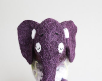 Felt Elephant - Giribala, Felted Toy, Puppet, Art Marionette Christmas gift Animals Stuffed  plush toy gift for kids. purple, violet.