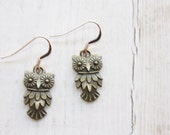 ChristmasSale Antique Owl Earrings, Antique Brass Pewter Owl, Rose Gold Filled Ear Wires, Cottage Chic Style