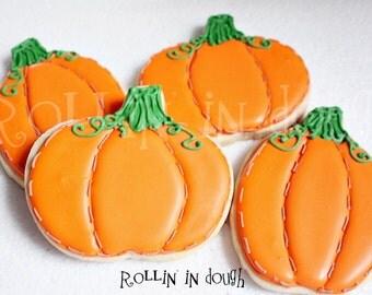Pumpkin Cookies, Fall Cookies, Autumn Cookies, Thanksgiving Cookies - 1 Dozen