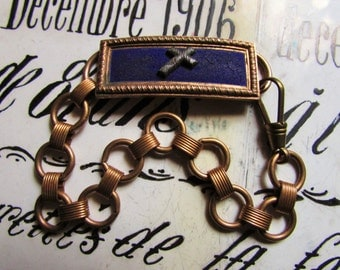 Antique book chain bracelet steel cross religious Man or Woman cuff badge buckle Victorian one of a kind jewelry