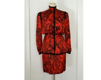 Vintage 1980's Designer Paul-Louis Orrier Suit // Red and Black Two Piece Silk Skirt Suit // Label Size 40