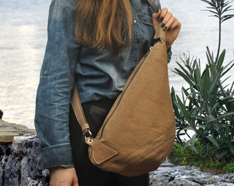 Leather  handmade cross body sling bag-Korina in Taupe brown.  MADE TO ORDER