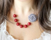 Chambray and Red fabric flower necklace, beaded necklace, statement necklace