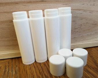 WHITE Round Lip Balm Tubes With Caps .15 oz WHOLESALE Lot