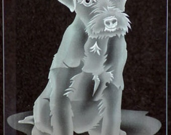 Carved Glass Jack Russel Terrier in Hand Crafted Wooden Base