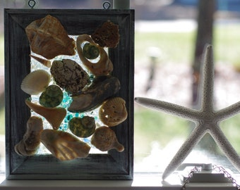 Seashell Glass Mosaic - Suncatcher - Beach Decor
