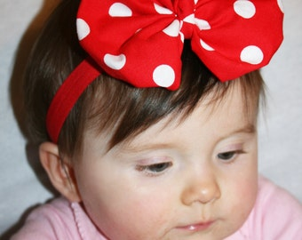 Red Polka Dot   Headband, baby headband, Red Headband,Christmas hadband, Minnie Mouse  Headband, Girls   Headband.