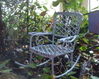 Fairy Garden, Miniature Baby Blue  Metal Rocking Chair