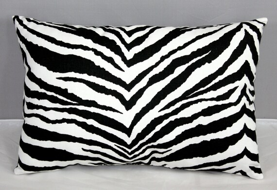 Lumbar Pillow Zebra Animal print black and by southseacollection
