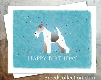 Wire Fox Terrier Birthday Card from the Breed Collection - Digital Download Printable