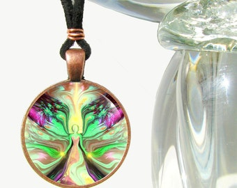 """Pastel Necklace, Green Yellow Jewelry, Angel Energy Art Reiki Attuned """"Growth"""""""