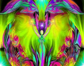 "Angel Art, Yellow Green Fuchsia Abstract Heart, Reiki Energy Art Print ""Inspiration"""