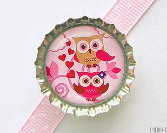 Love Owls Bottle Cap Magnet - valentines gift, valentines day gift, owl decor, owl birthday party favor, owl party favor, owl baby shower