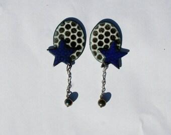 Retro 80s Enamel Jewelry / Black and white polka dot earrings  / Black Friday / Cyber Monday