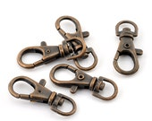 LARGE - 20 pcs. Copper Tone Lobster Swivel Clasps for Key Ring - 37 x 16mm