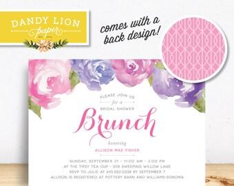 Pink + Purple Peonies Bridal Shower Brunch Digital Invitation - DIY Printable