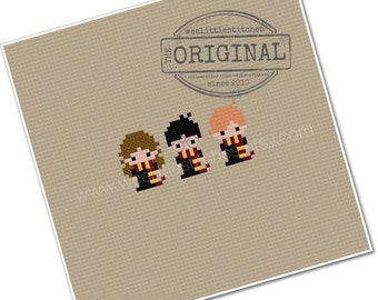 Harry, Ron, & Hermione - The *Original* Pixel People Minis - PDF Cross-stitch Pattern - INSTANT DOWNLOAD