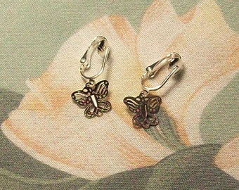Lightweight Dainty Silver Butterfly Clip On Earrings or Pierced