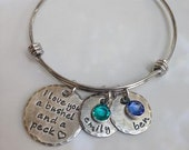 Bushel and A Peck - Personalized Bangle Bracelet - Mommy Jewelry - Personalized Jewelry - Birthstone Jewelry