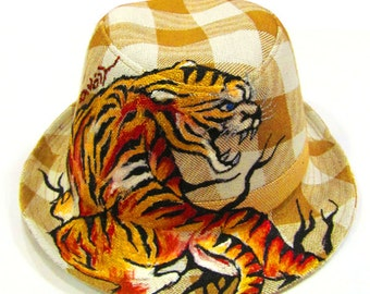 Hand Painted Crouching Tiger Tattoo Check Brown Fedora One of a Kind