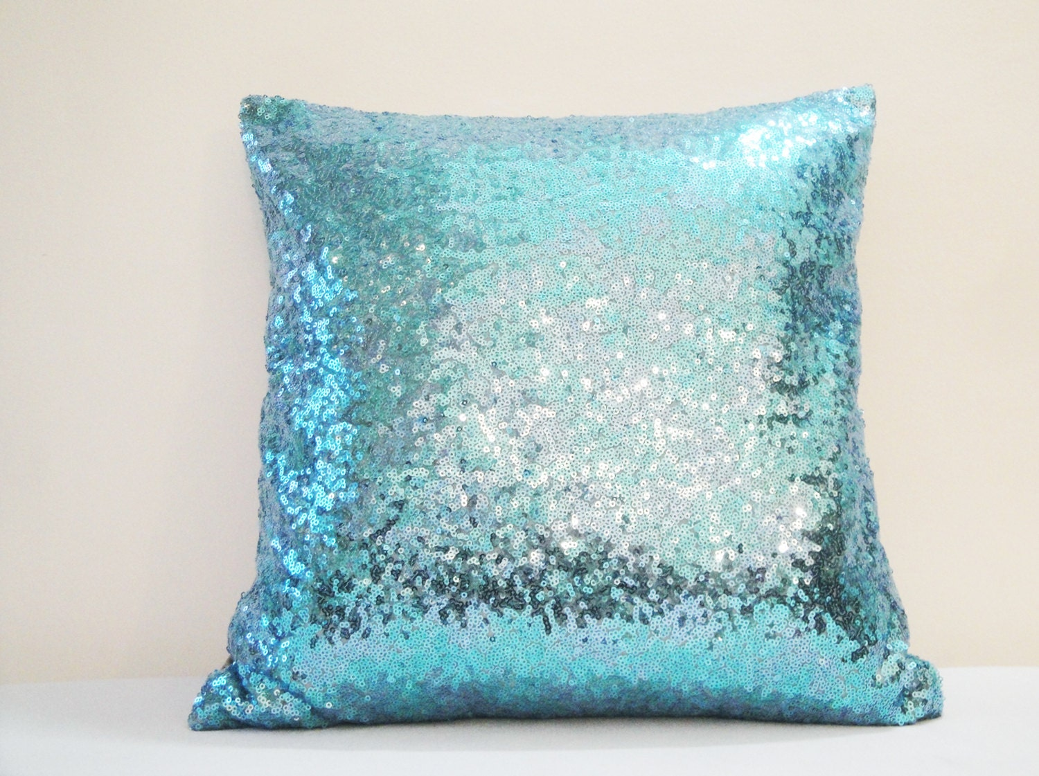 Decorative Pillows With Sequins : Shiny Turquoise Blue Pillow Cover Holiday Decor Sequin