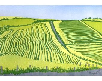 ORIGINAL lino print (Cutting ley on the Rhins)