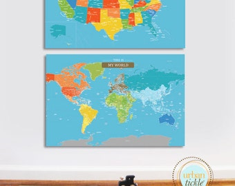 Map set of 2, USA and World, 32X48 Inches, Travel Artwork, Travel gift, Maps for Boys and Girls, Playroom maps